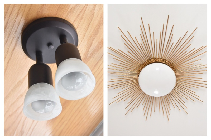 before after sunburst starburst light fixture DIY