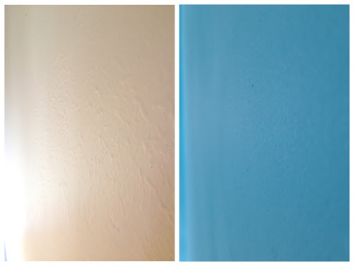 skimcoat textured walls DIY before after guest bedroom