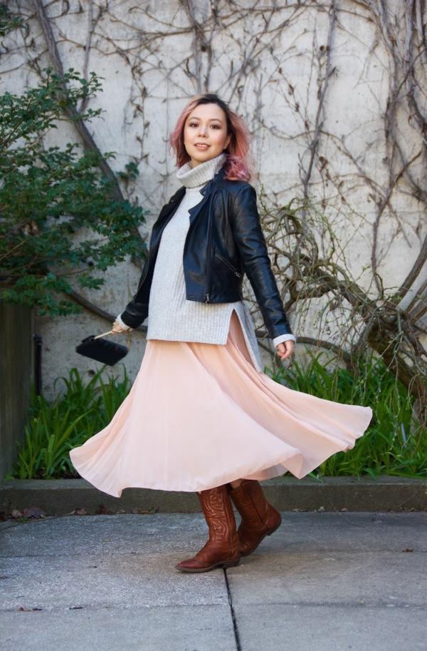 Kate Spade Emerson Place Emi handbag Forever 21 leather jacket H&M turtleneck Asos pleated pink skirt cowboy boots