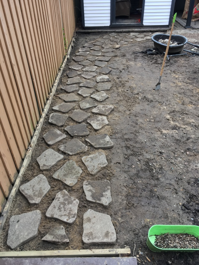 backyard DIY renovation remodel redoing stone path (2)