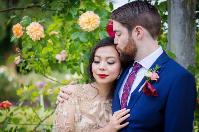 beaded capelet DIY wedding bolero cape Stanley Park Vancouver wedding photo