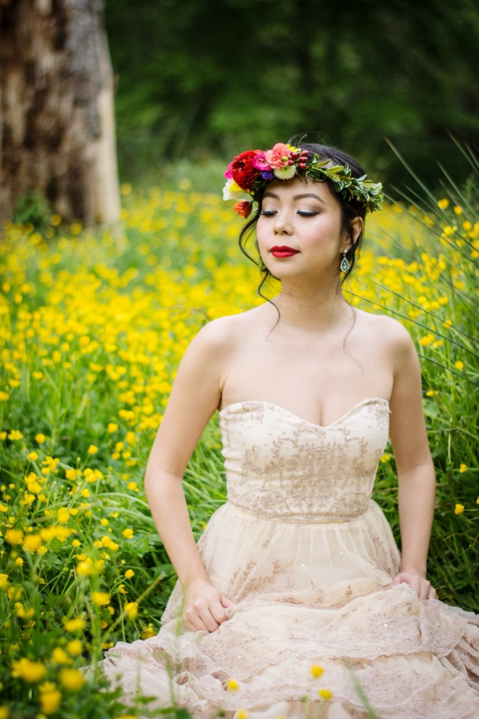 BHLDN ROSECLIFF GOWN ETSY FLOWER CROWN DIY VANCOUVER STANLEY PARK WEDDING PHOTO