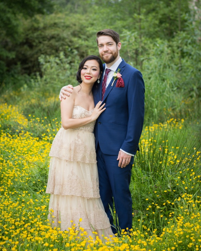 BHLDN ROSECLIFF GOWN SIMONS BLUE SUIT MAROON TIE VANCOUVER STANLEY PARK WEDDING PHOTO