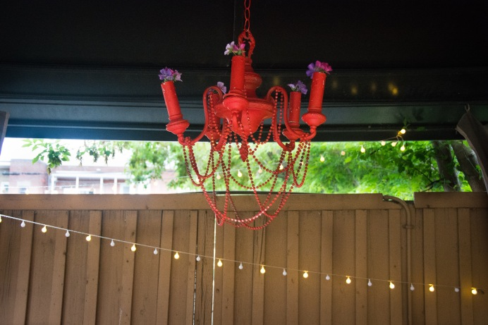Home Depot garden conversation set gazebo bohemian decor chandelier string lights