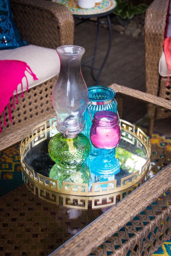 Home Depot garden conversation set gazebo bohemian decor lantern oil lamp candle holder
