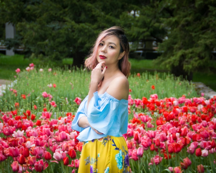 Montreal Botanical Gardens tulips Modcloth midi skirt Zara off-the-shoulder top embroidered clutch Le Chateau pumps heels spring fashion 6