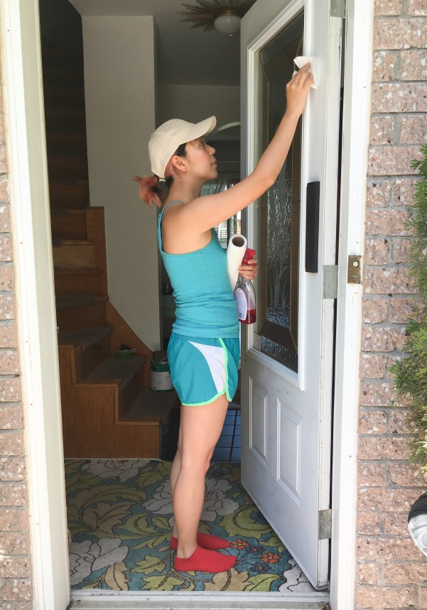 painting front door red DIY cleaning door