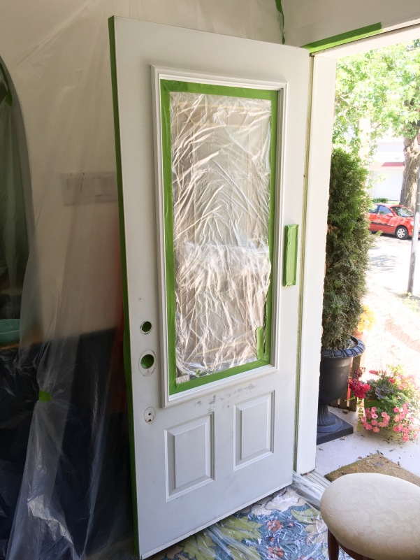 painting front door red DIY painter's tape
