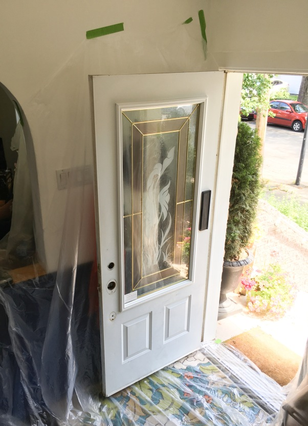 painting front door red DIY plastic cover