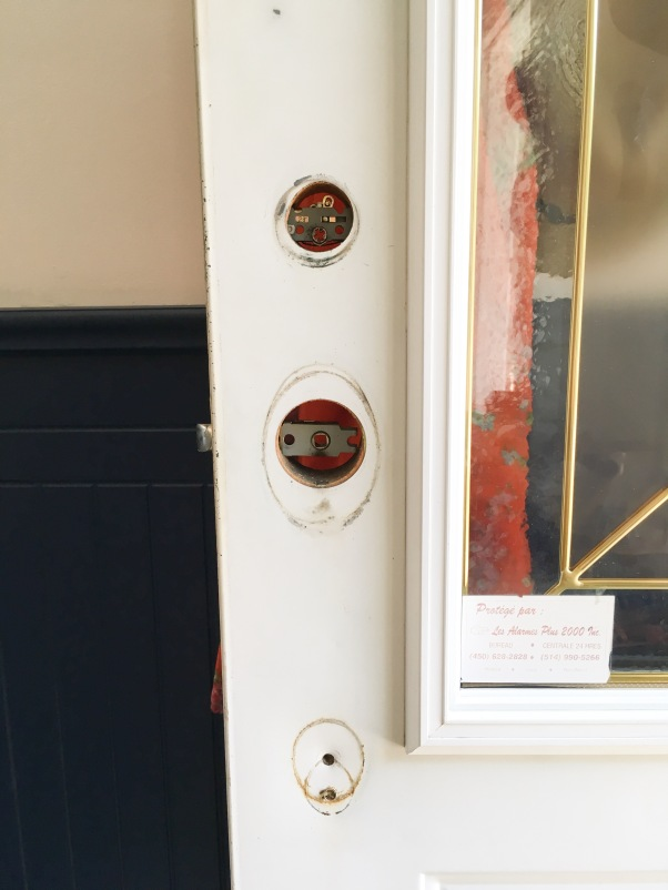 painting front door red DIY taking off hardware