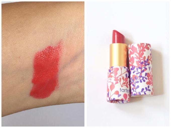 summer beauty favourites swatch Tarte Amazonian Butter lipstick poppy