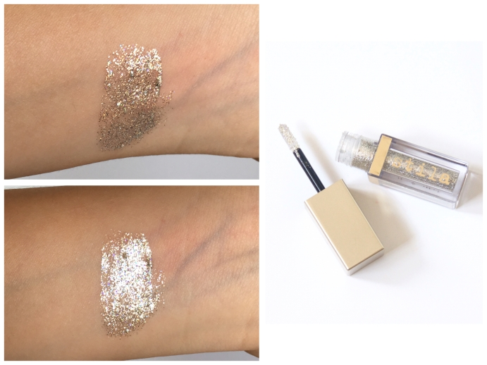 summer beauty favourites swatches Stila Magnificent Metals Glitter and Glow Liquid Eye Shadow Diamond Dust