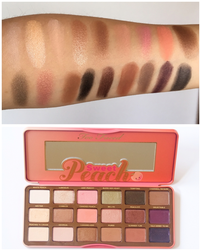 summer beauty favourites swatches Too Faced Sweet Peach palette