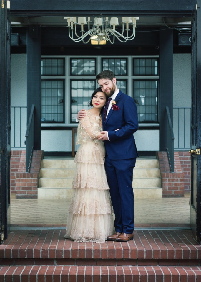 THE BROCKHOUSE CONSERVATORY BHLDN ROSECLIFF GOWN SIMONS BLUE SUIT DIY BEADED CAPELET WEDDING PHOTO VANCOUVER