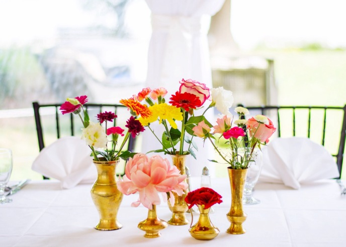 THE BROCKHOUSE LAWN WEDDING TENT BRASS VASE FLORAL CENTREPIECES