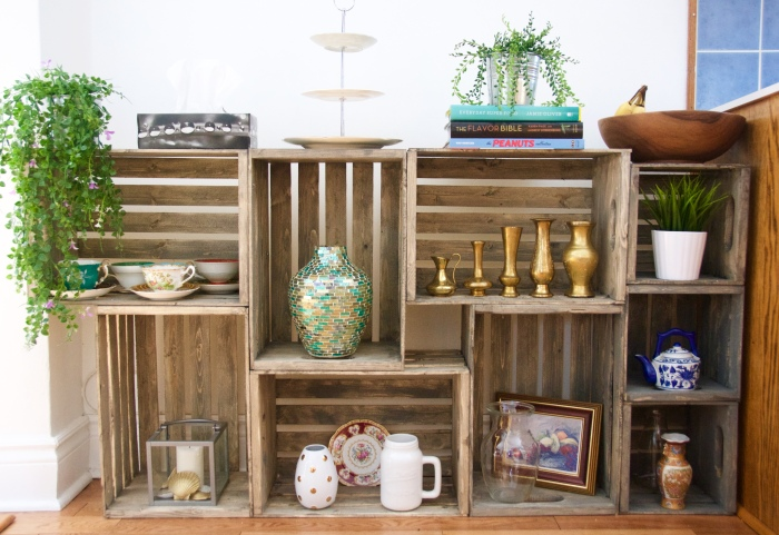 DIY wooden crate shelf 2