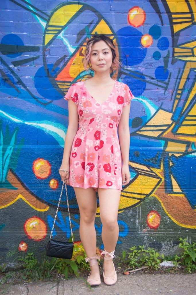 pink floral romper asos Forever 21 ballet flats Kate Spade emerson place emi black graffiti mural 2