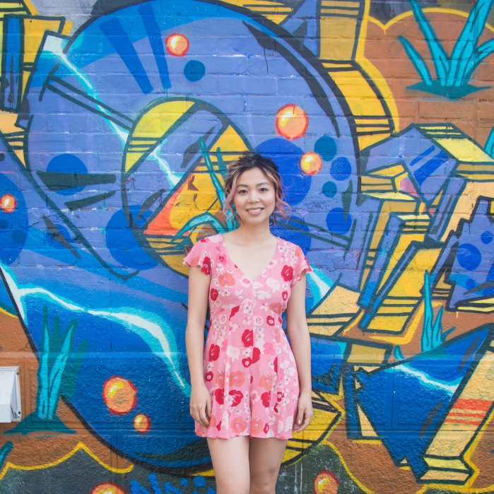 pink floral romper asos Forever 21 ballet flats Kate Spade emerson place emi black graffiti mural 3