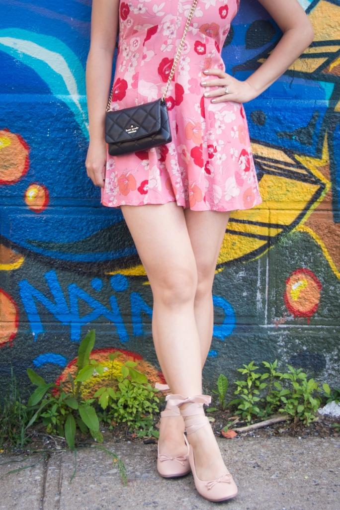 pink floral romper asos Forever 21 ballet flats Kate Spade emerson place emi black graffiti mural