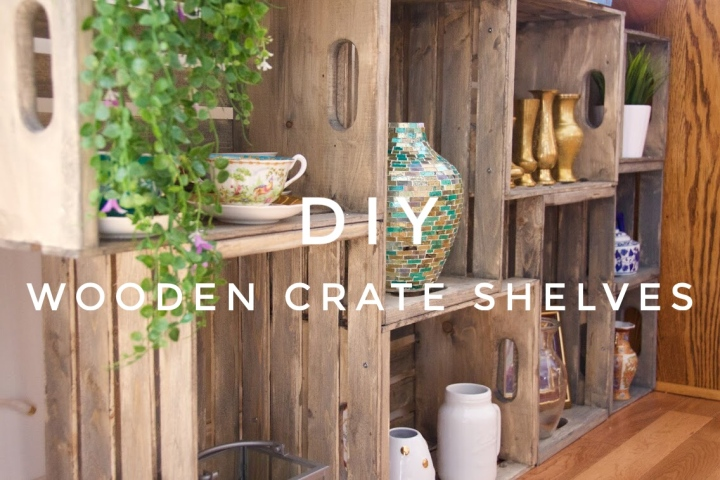 Wooden Crate Display Shelves DIY