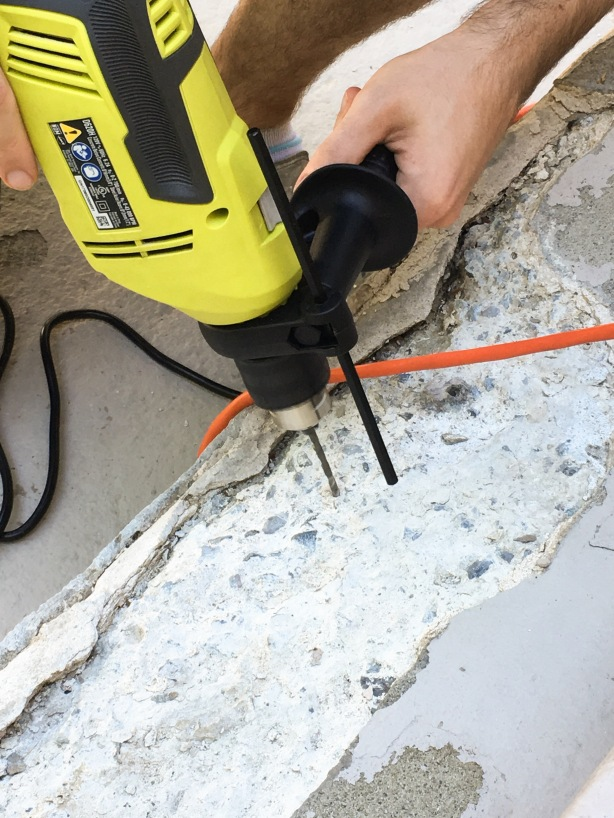 concrete step stair repair DIY masonary drill