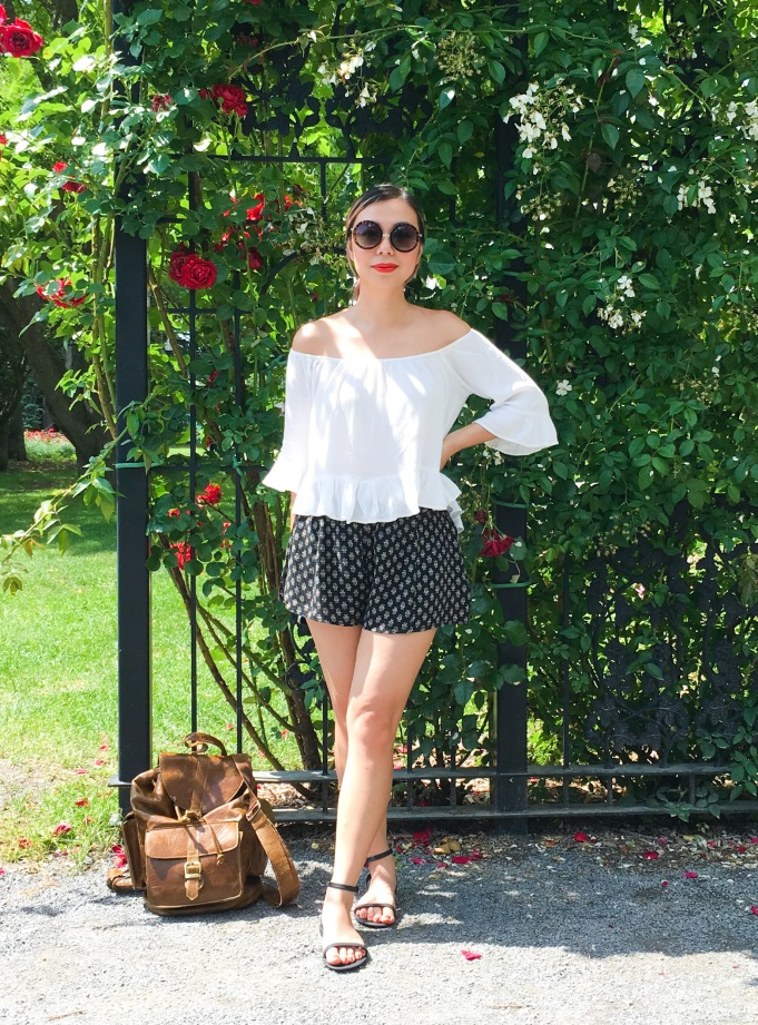 Montreal Botanical Garden climbing roses Urban Planet off-the-shoulder top Forever 21 shorts sunglasses Asos sandals leather backpack (1)