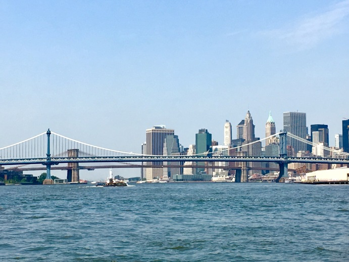 New York City Manhattan skyline Hudson River bridge travel