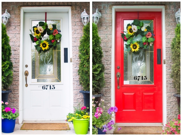 painting front door red DIY before and after Behr exterior paint and primer in one red geranium