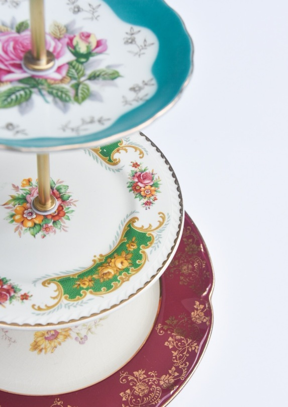 tiered cake stand DIY vintage dishes plates