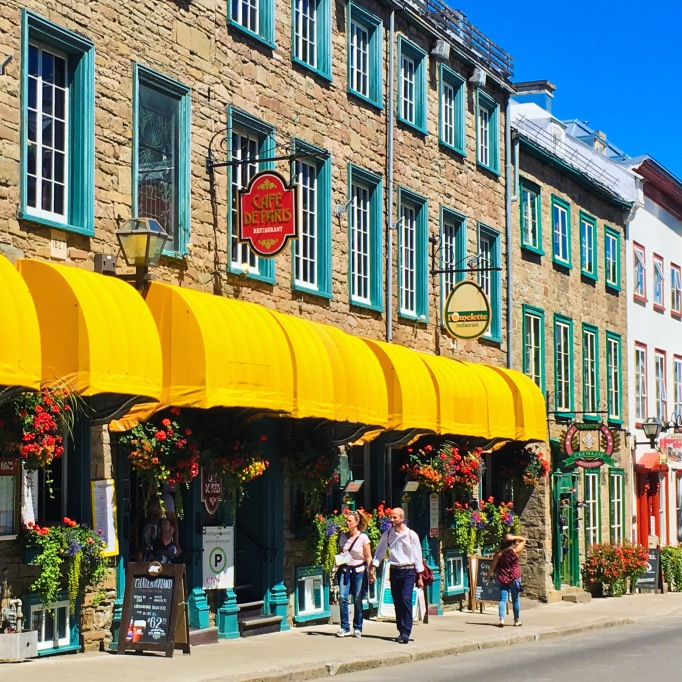 Old Quebec City store fronts restaurants
