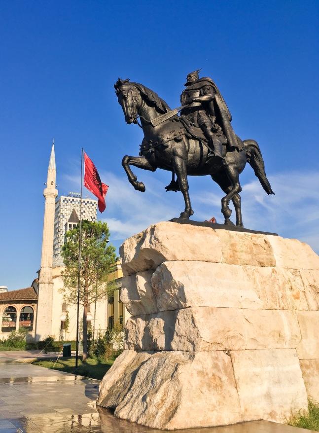 Albania Tirana monument flag square