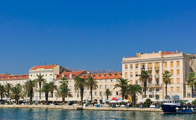 Croatia Split palm trees harbour old town travel
