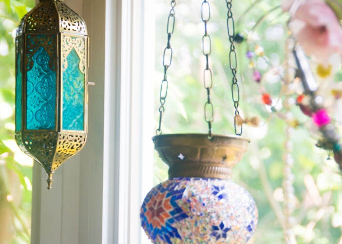 DIY floral beaded chandelier teal lantern Turkish blue orange lantern eclectic antique bohemian home living room decor