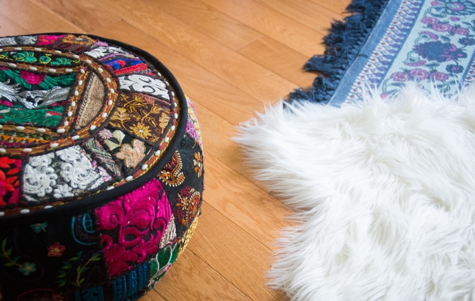 patchwork floor pouf faux fur rug blue rug eclectic antique bohemian home living room decor