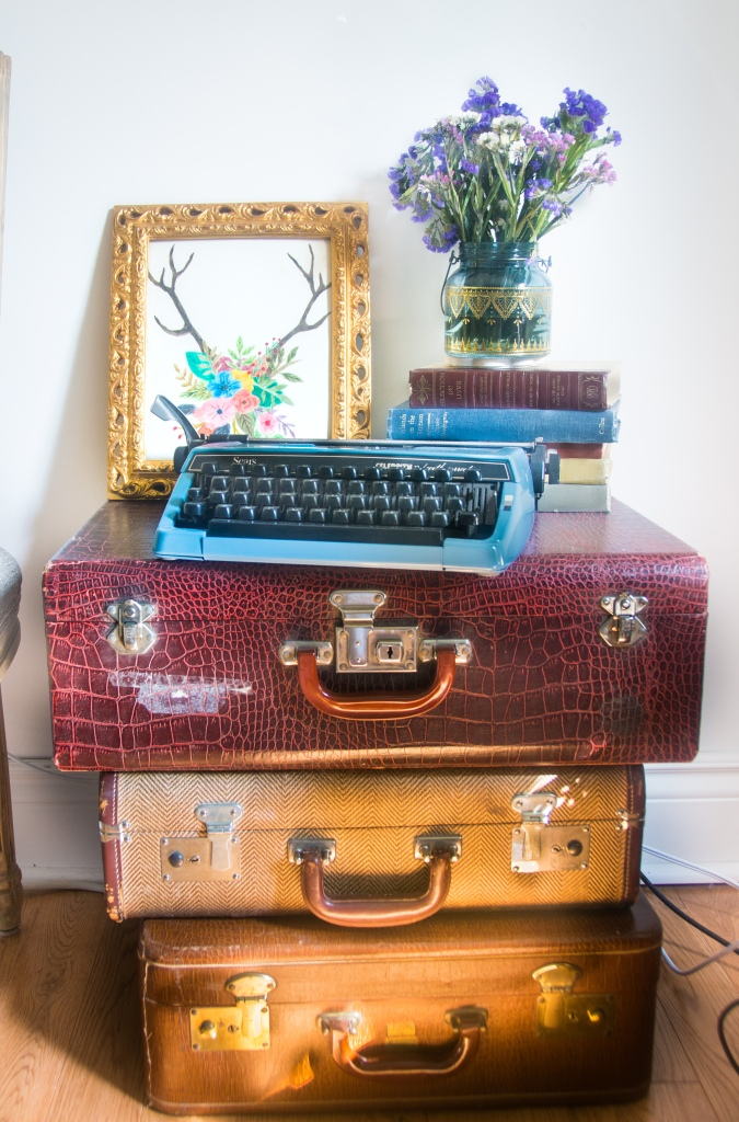 suitcase side accent table typewriter vintage books print eclectic antique bohemian home living room decor