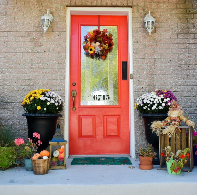 autumn fall front door porch vignette decor