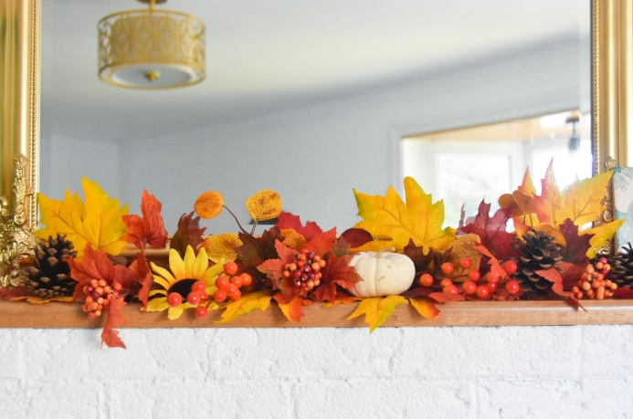 autumn fall mantle garland fake leaves berries sunflower pumpkins 2