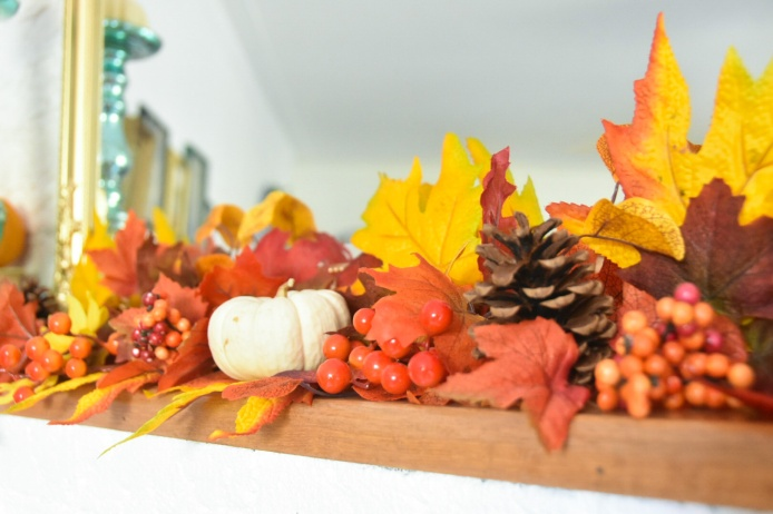 autumn fall mantle garland fake leaves berries sunflower pumpkins