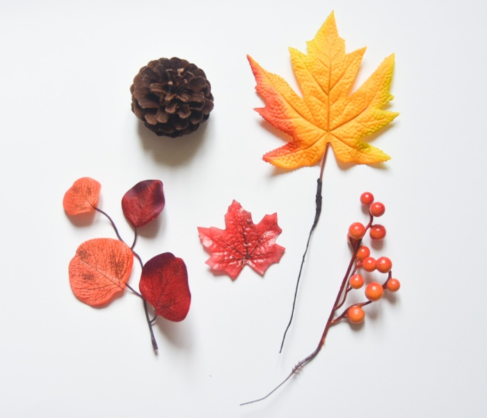 autumn fall mantle garland fake leaves pine cone berries materials