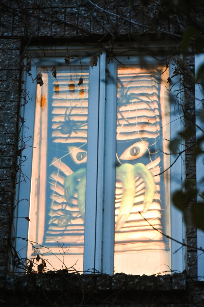 Halloween outdoor decor monster window