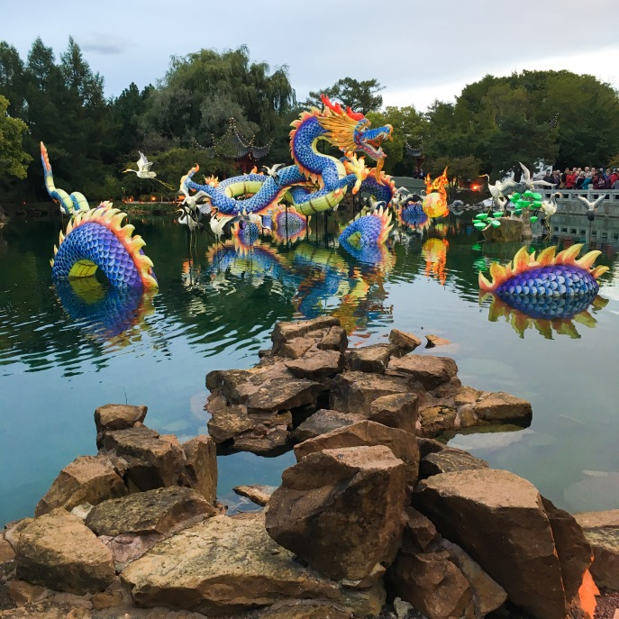 Montreal Botanical Gardens Chinese Lanterns pond dragon