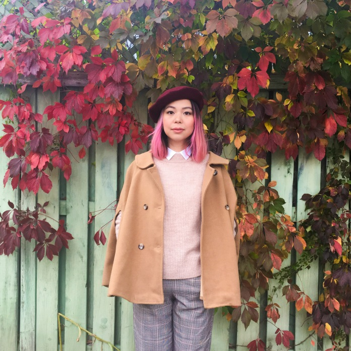 Simons burgundy beret camel cape H&M pink sweater collar button-down shirt checked menswear trousers vintage pumps fall autumn vines leaves fashion 6