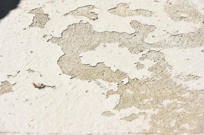 DIY concrete stair step repair before grinding off old paint