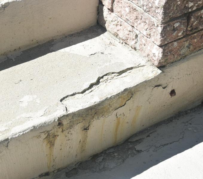 DIY concrete stair step repair before photo chip repair