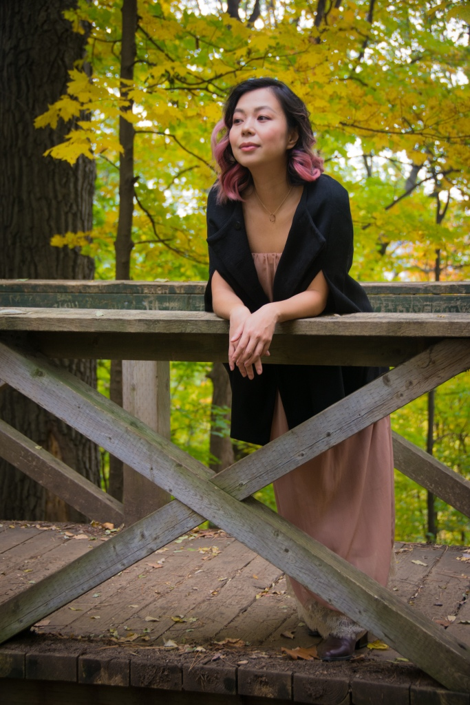 Montreal fall autumn leaves Mount Royal Zara dusty pink strapless maxi dress black cape fashion 2