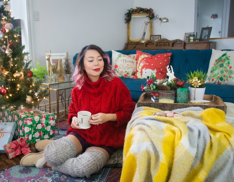 Christmas holiday cozy outfit red Zara turtleneck sweater Simons leg warmers sheepskin slippers tree living room decor