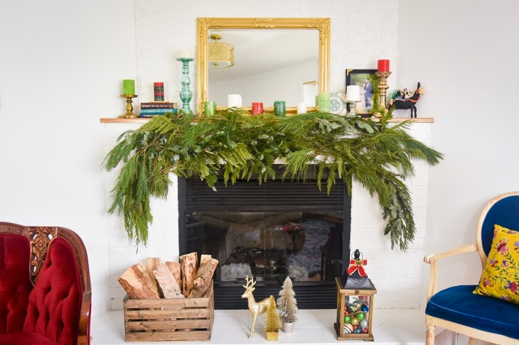 DIY christmas holiday mantle fireplace garland real evergreen how to guide