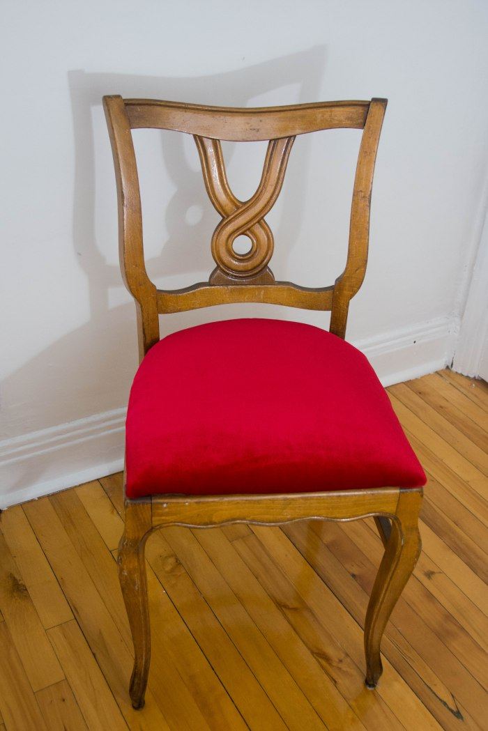 DIY reupholstered dining chair red velvet vintage retro furniture after picture
