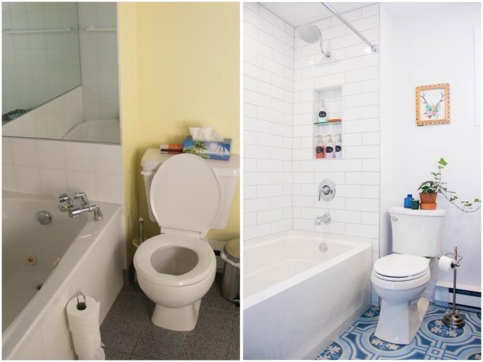 bathroom renovation remodel before and after shower bathtub toilet tile