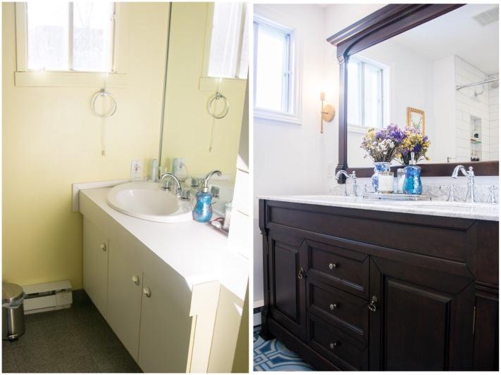 bathroom renovation remodel before and after tile vanity